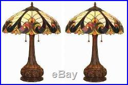 1-PAIR CH18780VI18-TL2 Tiffany Style Stained Glass 2 Light table Lamp 18 Shade