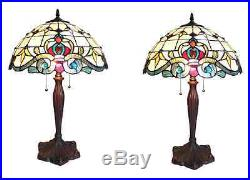 1-PAIR Chloe CH18806IV16-TL2 Victorian Style Stained Glass Table Lamp 16 Shade