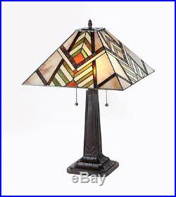 1-PAIR Chloe CH33260MS16-TL2 Mission Style Stained Glass Table Lamp W 16 Shade