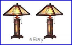 1-PAIR Chloe CH33426WM15-DT3 Mission Style Stained Glass Table Lamp 15 Shade