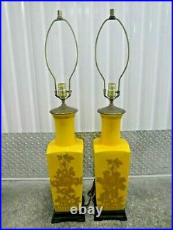 1970's Decorator Canary Yellow Chinoiserie Lamps A Pair