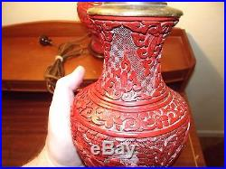 2 Matching Pair of 1940's Antique Red Cinnibar Chinese Table Lamps