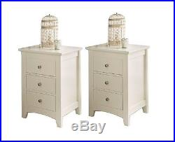 2 PAIR SET ELEGANT Ivory SOLID WOODEN 3 DRAWER BED SIDE TABLE CABINET CHEST LAMP