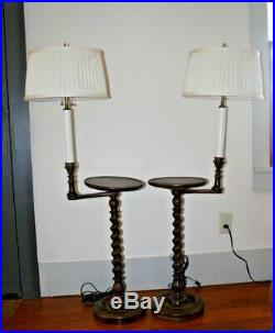 (2) Pair Jacobean Barley Twist Side Tray Floor Lamp End Pedestal Tables Stand