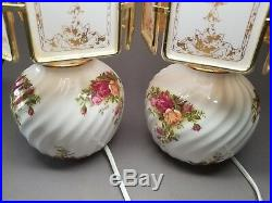 2 (Pair) Royal Albert Old Country Roses Table Lamps Rare Fluted WORKING READ