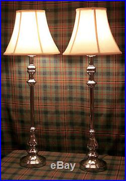 2 Polo RALPH LAUREN Pair Candlestick Table Lamp Chrome with silk shades
