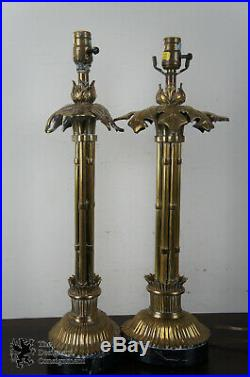 2 Vintage 1990 Chapman Table Lamps Brass Bamboo Columns Leaves Marble Base Pair
