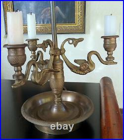 2 Vintage Pair Empire Style Brass Swans Bouillotte LAMPS Adjustable Metal Shades