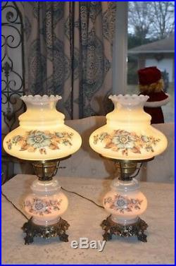 A Pair of Antique Vintage Hurricane Gone with the Wind Lamps