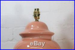 A Pair of Large Vintage Oriental Chinese Table Lamps Crackle Glazed Salmon Pink