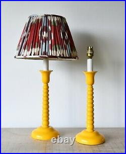 A Stylish Pair of Vintage Bobbin Candlestick Brass Hall Bed Side Table Lamps
