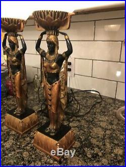 Amazing EGYPTIAN LAMPS Art Deco Style Black & Gold Torch Globes