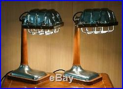 Amazing Pair Of Brown Leather Nickle Plated Chrome Table Lamps Adjustable Shades