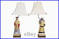 Antique Chinoiserie Porcelain Table Lamps Signed Potenzano & F. Rabe, A Pair