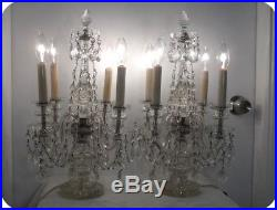 Antique Cut Crystal Chandelier 4-lite Table Mantel Lamps Pair. Made In Czech