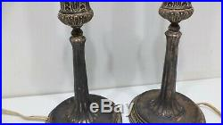 Antique Pair 1920s Robert Findlay Silver Plate Candlestick Electric Table Lamps