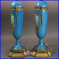 Antique Pair of French Sevres School Porcelain Table Lamps