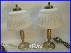 Antique Pairpoint Reverse Painted Boudoir Lamp Pair Lamps Signed Shade Base