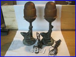 Antique vintage pair Art Deco risque nude woman table top lamps with glass shades