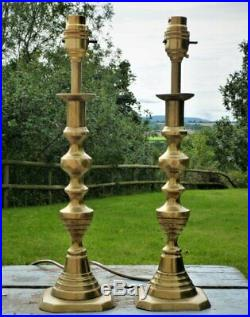 Antique vintage pair brass table lamps candlestick style Rewired French Chic
