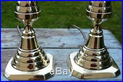 Antique vintage pair brass table lamps candlestick style Rewired French Chic 15