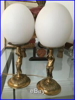 Art Nouveau pair of French cast bronze lamp base and opaline shades 26cm