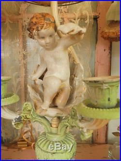 Beautiful PAIR of Vintage Spelter Metal Cherub Lamps with Lampshades