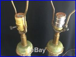 Beautiful Pair Antique Green Onyx & Brass Art Deco Table Lamps Signed New York