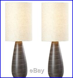 Bedroom Modern Desk Table Lamp with Drum Shade Pair Set of 2 Ceramic