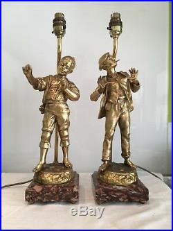 Charming Pair Of Continental Antique Gilt Metal And Marble Table Lamps
