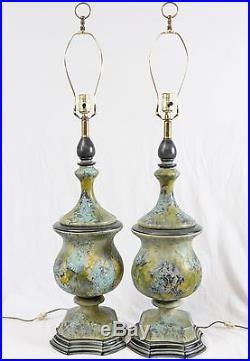 Drip Glaze Lava Pottery Mid Century Urn Table Lamps Pair Vintage Green Blue
