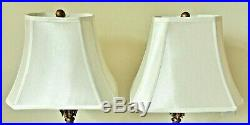 Elegant Pair Tall Ornate Designer BERMAN Gold Candlestick Table Lamps with Shades