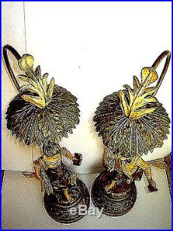 Estate Antique Pair Rare Signed Bruchon Spelter Figural French Lamp with Prisms