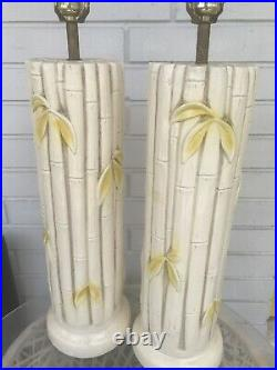 FAUX BAMBOO Table Lamps PAIR Palm Beach Hollywood Regency Mid Century Decor