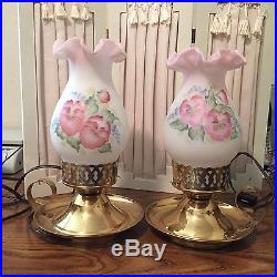 Fenton Pair Of Hand Painted Satin Glass Shade Table Lamps