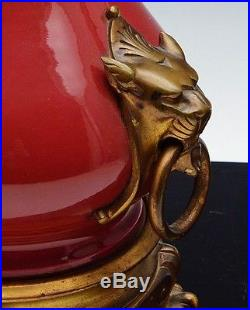 Fine Pair French Or Chinese Red Flambe Enamel Glazed Bronze Mounted Vase Lamps