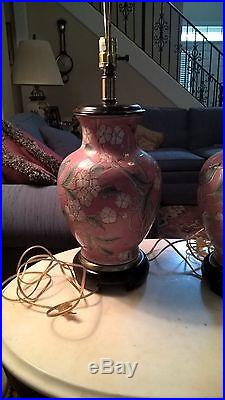 FREDERICK COOPER Pair of Ceramic Ginger Jar Wood Base LAMPS 29.5 inches tall