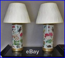 Fab Pair of Bunny Williams Decalcomania Gilt-Wood Mounted Glass Lamps