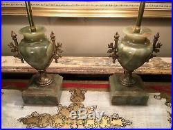 Fine Pair Of Antique Onyx Marble Gilt Metal Table Lamps