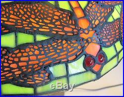 Fine Pair TIFFANY STYLE Art Nouveau Stained Glass Dragonfly Lamps Contemporary