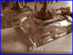 Fine Pair Vintage Column Glass and Brass Table Lamps by Frederick Cooper Chicago