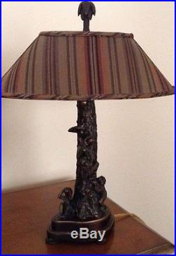 Frederick Cooper Monkey Lamps With Striped Lamp Shades