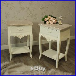 Furniture bundle pair cream 2 drawer bedside lamps tables shabby vintage chic