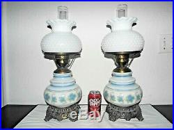 Gone With The Wind Pair Vintage 3-way Quoizel Betsy Ross Themed Hurricane Lamps