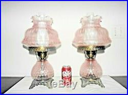 Gone With The Wind Pair Vintage Fancy 3-way Pink Swirled Glass Hurricane Lamps