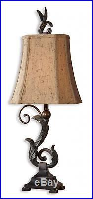Gorgeous BRONZE SCROLL Buffet Lamp PAIR Old World Antique Black Table Set 2