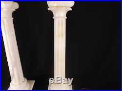 Gorgeous Pair of Table Lamps ALABASTER Carved Neo-Classical Tall Hand Carved