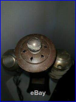Heavy Bronze-Finished Hammered Arts & Craft Mission Nouveau Lamp Pair, 1900's