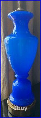 LARGE Pair of Marbro Table Lamps Mid Century Modern Blue French Opaline Glass