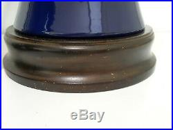 LG 29 h Vintage Pair Chinoiserie Asian Blue Pottery Ceramic Ginger Jar Lamps